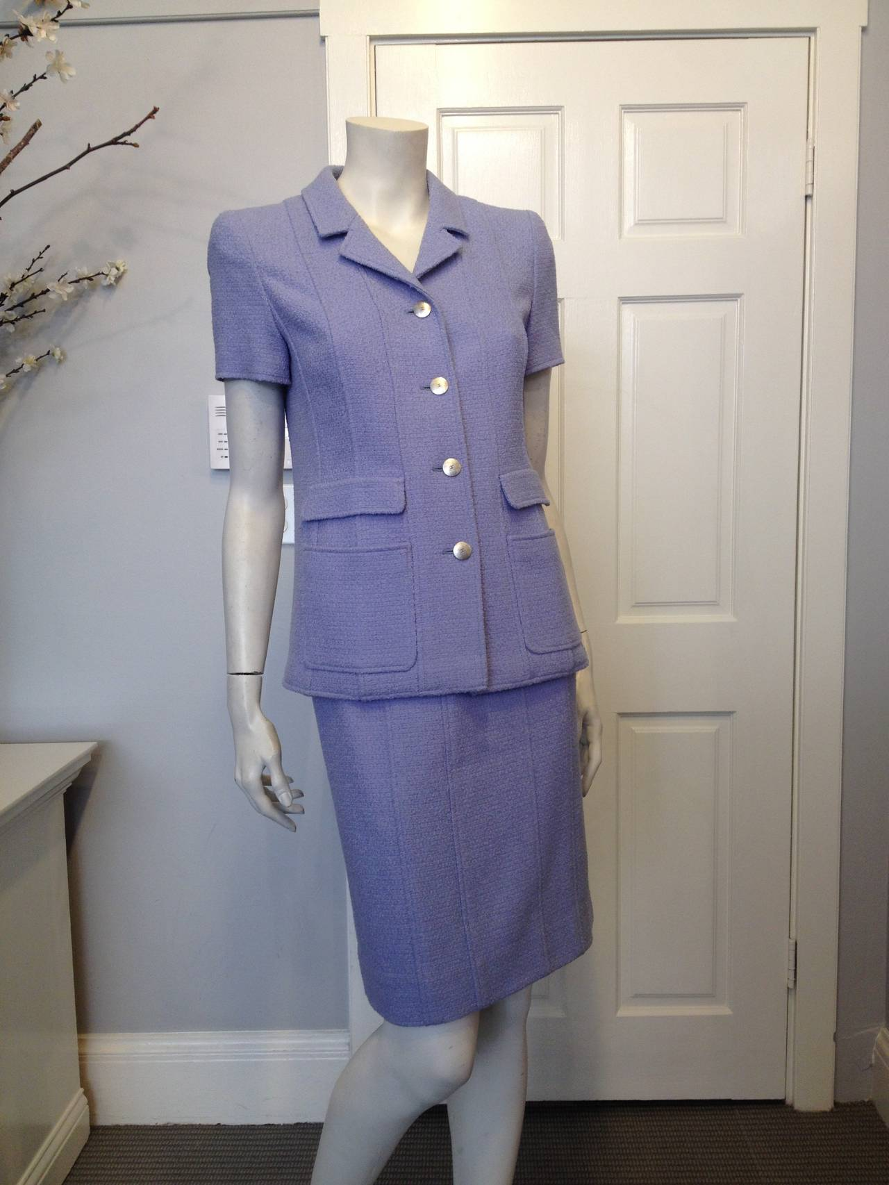 chanel periwinkle blue tweed skirt suit for sale at 1stdibs