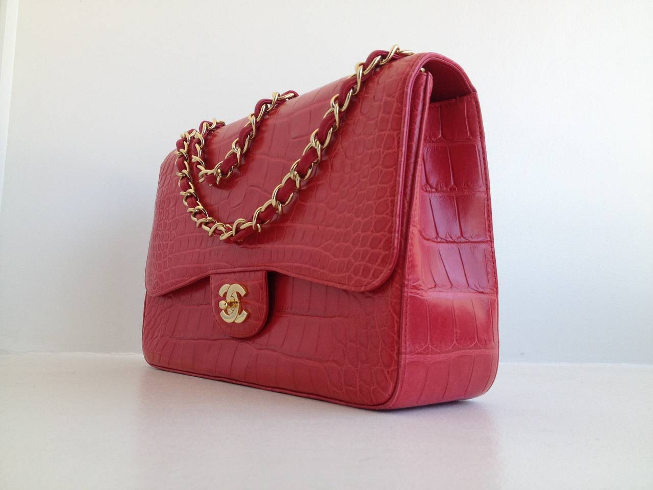 6e2a16771b6b4e Chanel Red Alligator Jumbo Classic Single Flap Bag For Sale. Nothing is  more special than this iconic piece - the classic flap style is so Chanel