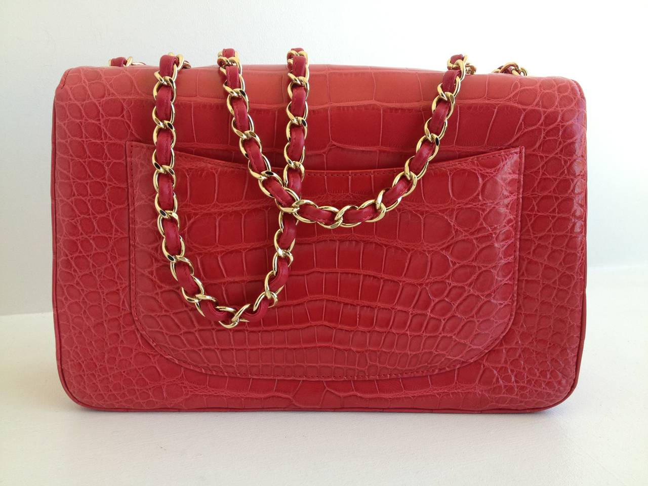 9b3bcfefb115 Chanel Red Alligator Jumbo Classic Single Flap Bag In Excellent Condition  For Sale In San Francisco