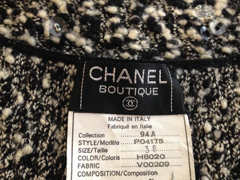 Chanel Black and White Knit Dress For Sale 3
