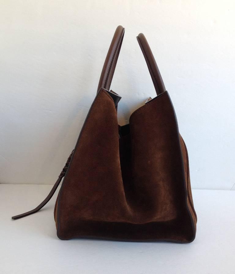 C 233 Line Brown Suede Luggage Handbag At 1stdibs