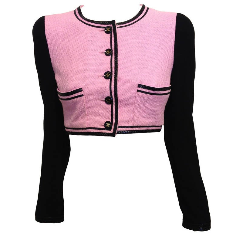 Chanel Pink and Black Cropped Jacket at 1stdibs