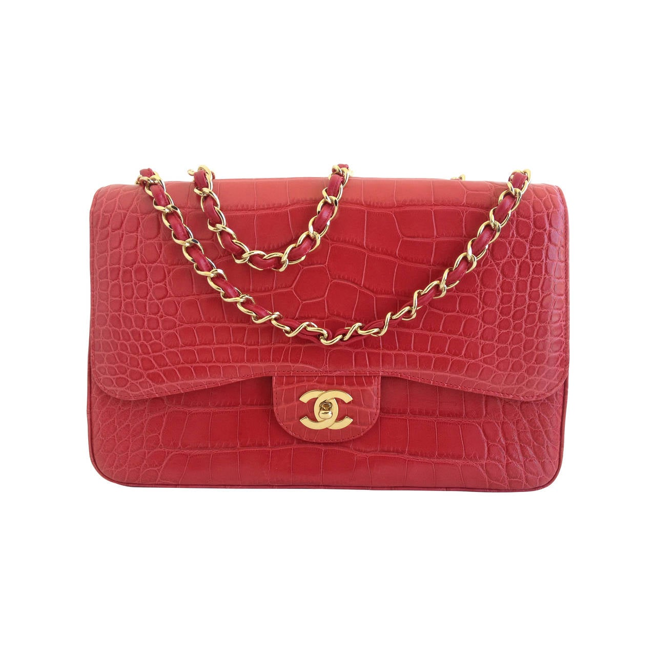899a65fc7ba8 Chanel Red Alligator Jumbo Classic Single Flap Bag at 1stdibs