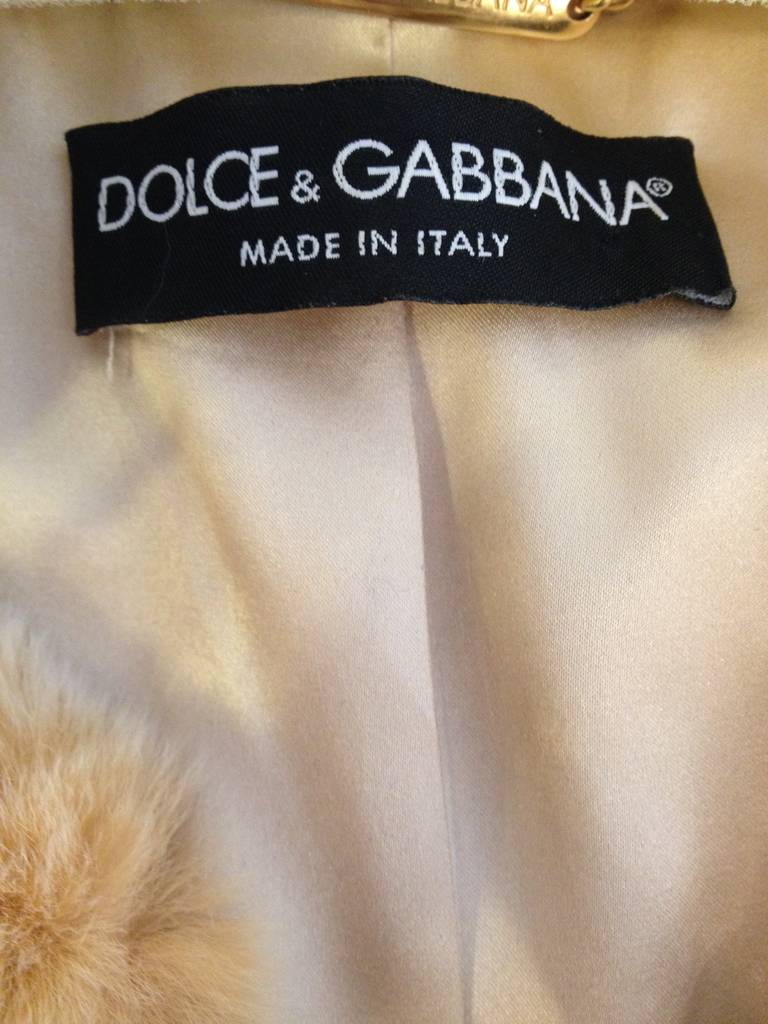 Dolce & Gabbana Gold Brocade Coat with Fur Collar 6
