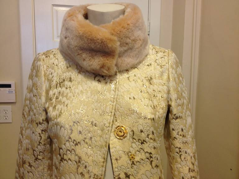 Dolce & Gabbana Gold Brocade Coat with Fur Collar 2