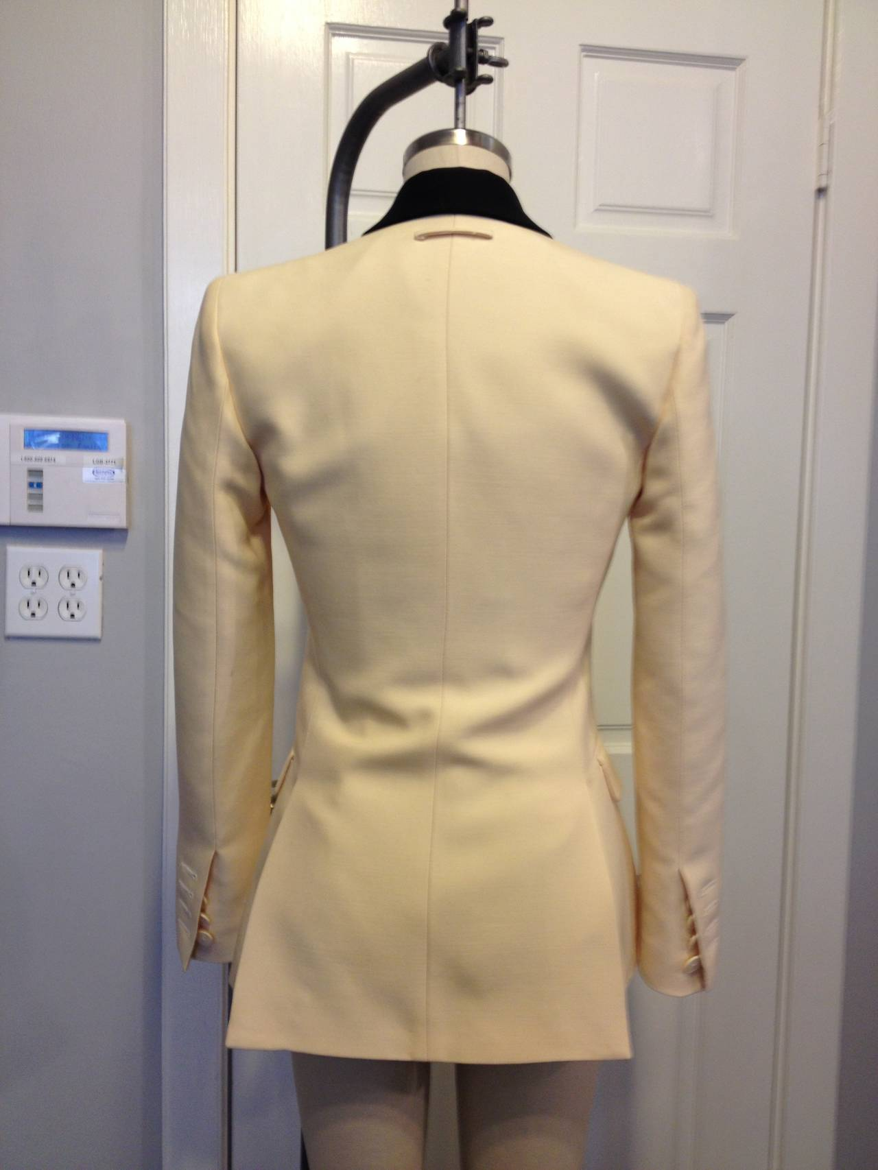 Jean Paul Gaultier Cream Embroidered Blazer In Excellent Condition For Sale In San Francisco, CA