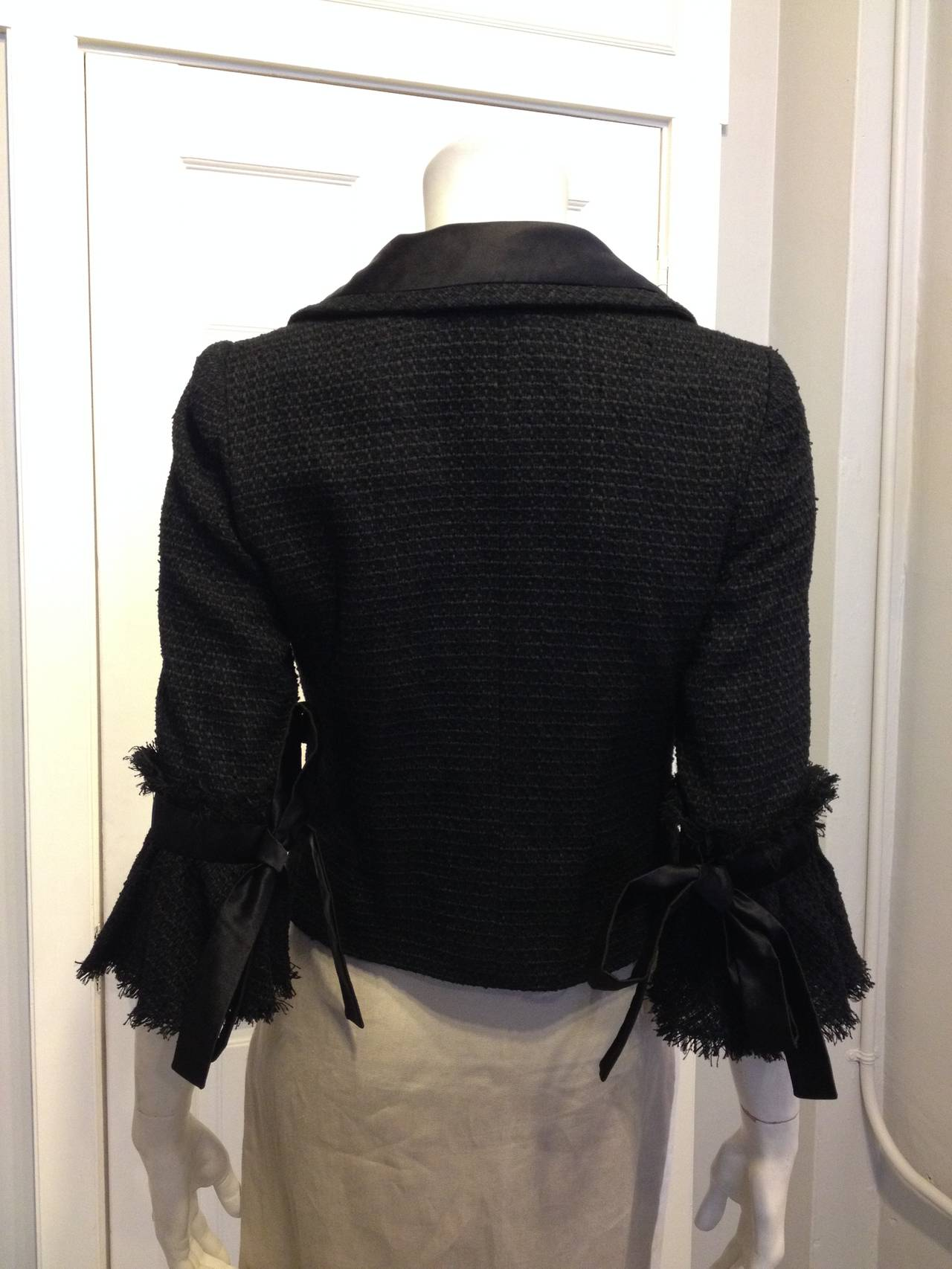 Chanel Black Tweed Jacket with Bell Sleeves In Excellent Condition For Sale In San Francisco, CA