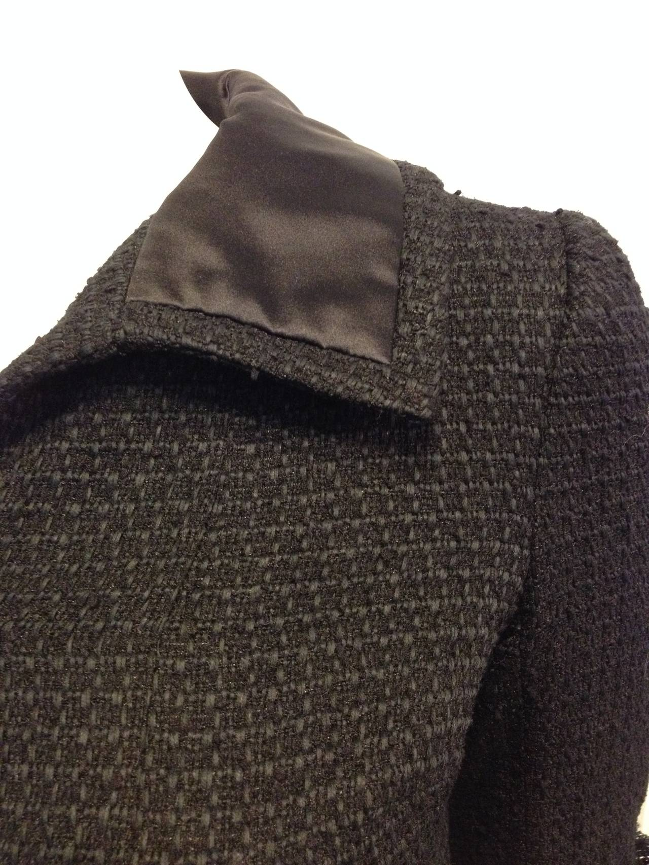 Chanel Black Tweed Jacket with Bell Sleeves For Sale 1