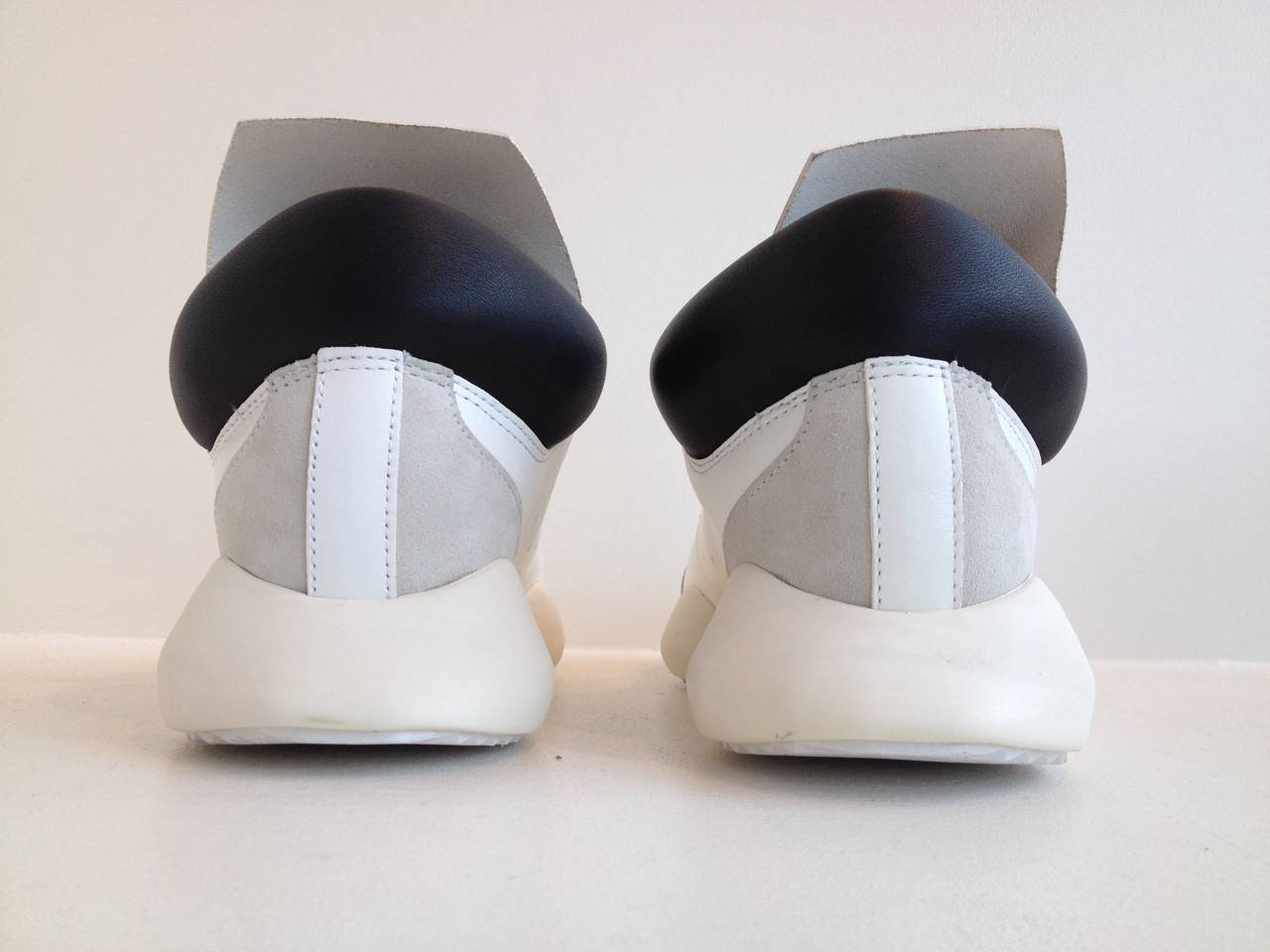 Rick Owens for Adidas White Puffy Sneakers For Sale 1