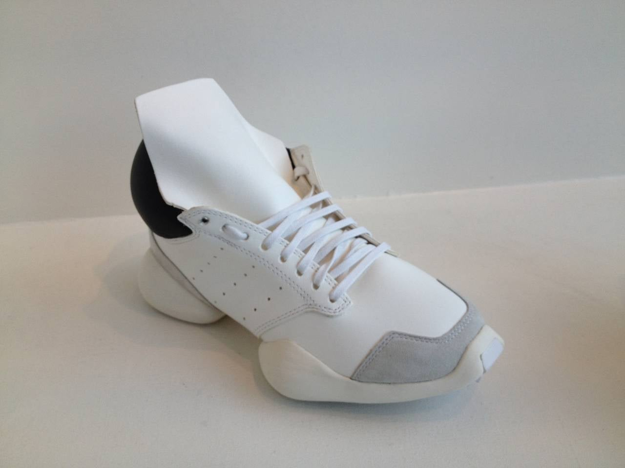 Gray Rick Owens for Adidas White Puffy Sneakers For Sale