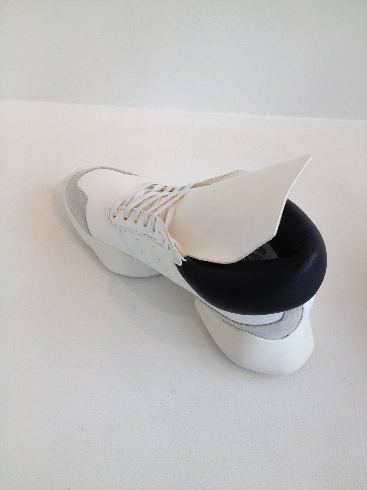 Rick Owens for Adidas White Puffy Sneakers In New Condition For Sale In San Francisco, CA
