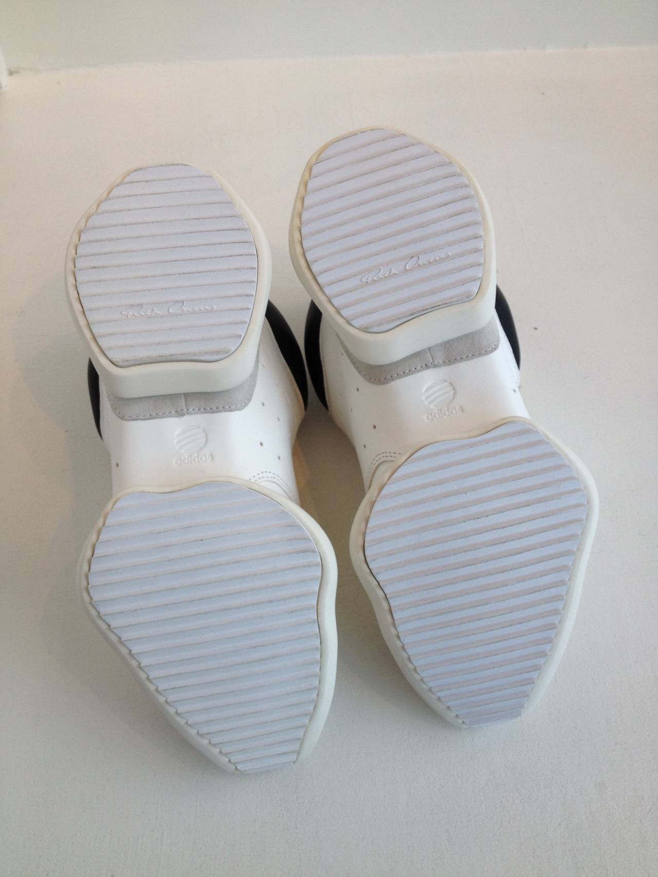 Rick Owens for Adidas White Puffy Sneakers For Sale 2