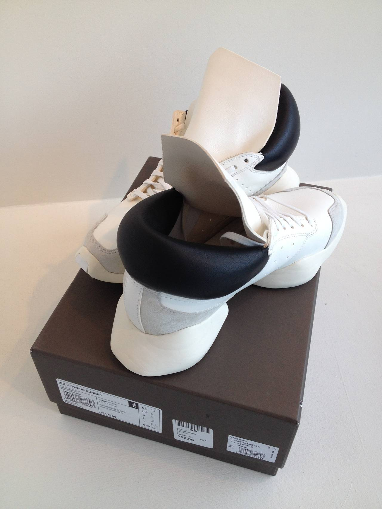 Rick Owens for Adidas White Puffy Sneakers For Sale 3