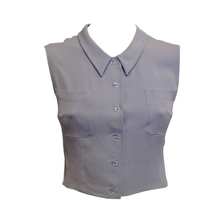 Chanel Dove Grey Sleeveless Cropped Blouse For Sale