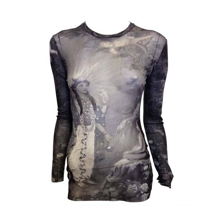 Jean Paul Gaultier Grey Mesh Top with Angel 1
