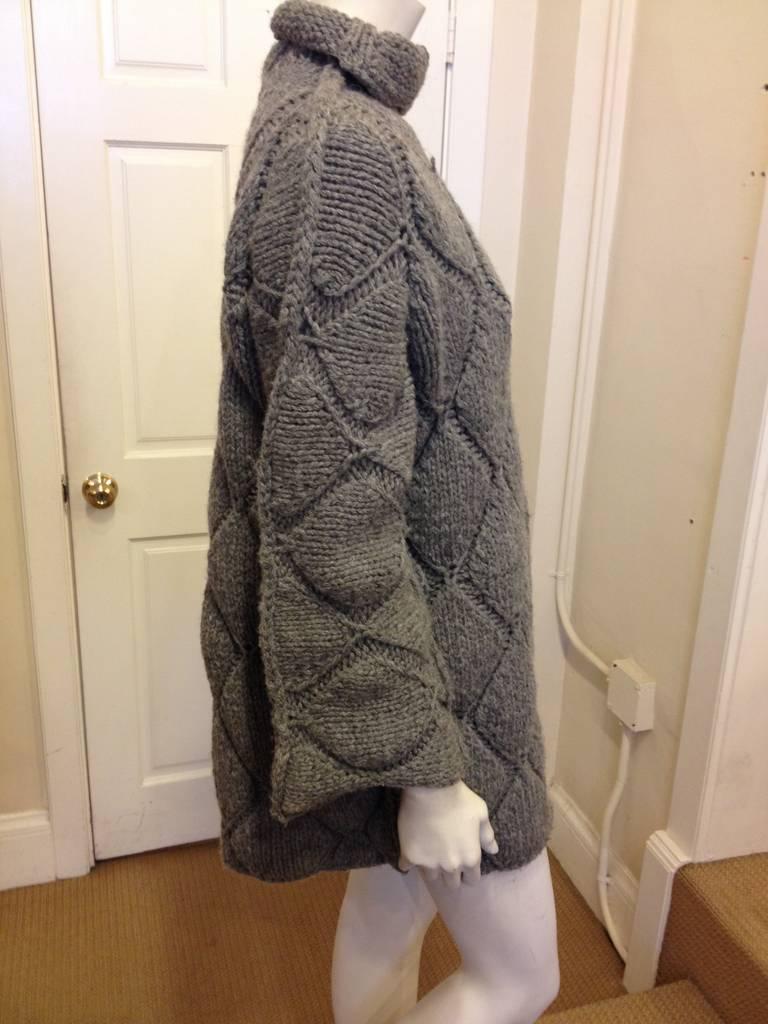 Maison Martin Margiela Grey Diamond Knit Sweater 3