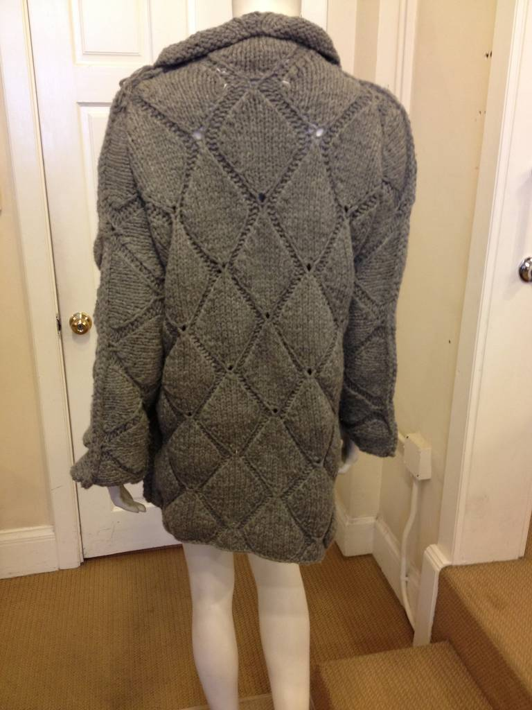 Maison Martin Margiela Grey Diamond Knit Sweater 2