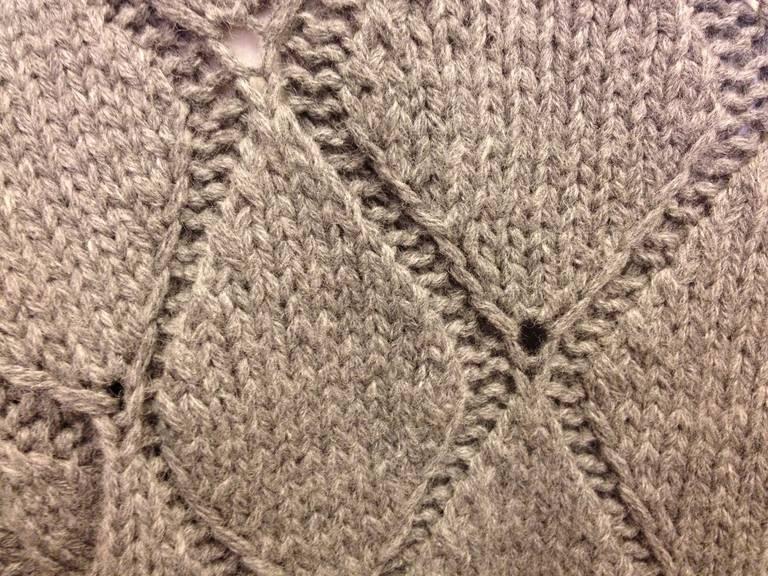 Maison Martin Margiela Grey Diamond Knit Sweater 4