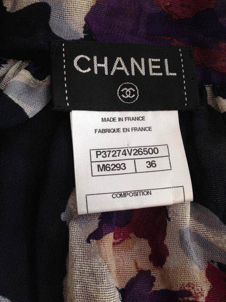 Chanel Magenta Floral Sheer Cropped Jacket 6