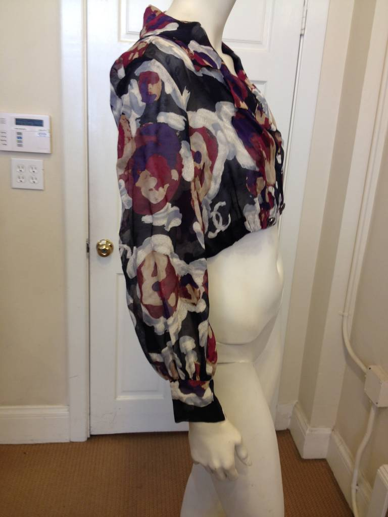 Chanel Magenta Floral Sheer Cropped Jacket 4