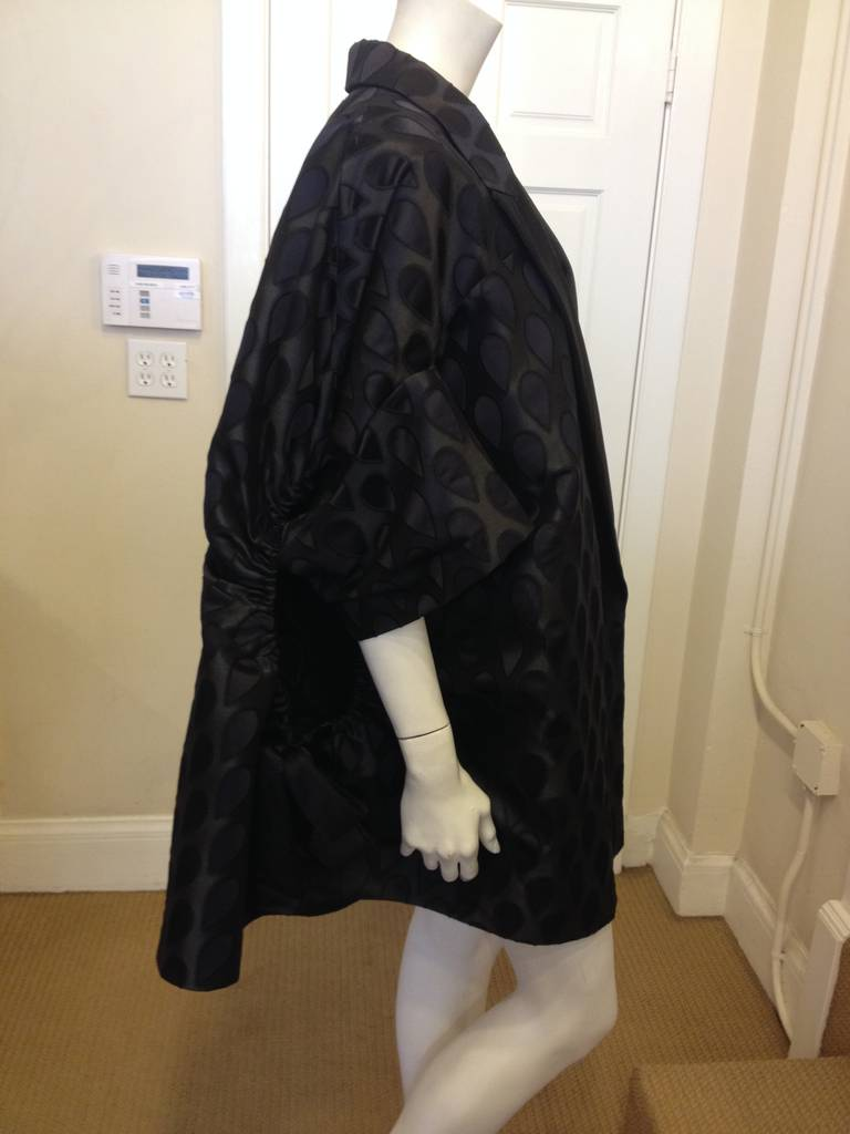 Yves Saint Laurent Black Satin Coat In New Never_worn Condition For Sale In San Francisco, CA