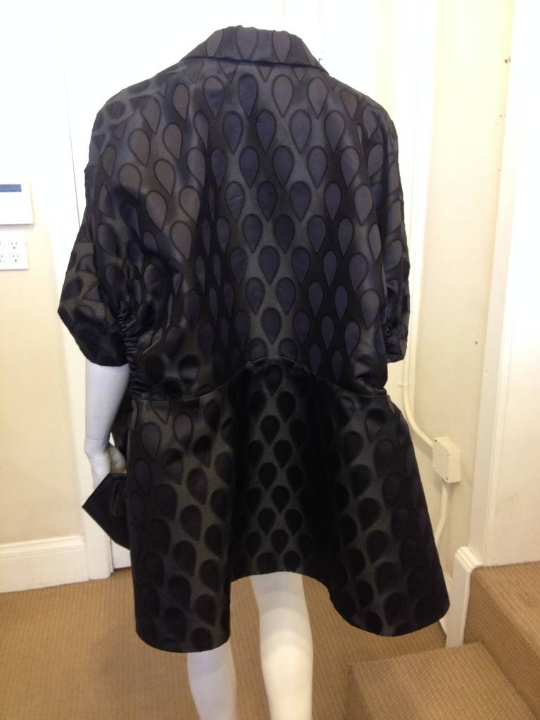 Yves Saint Laurent Black Satin Coat 5