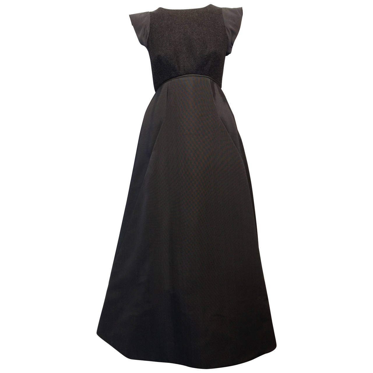 Chado Ralph Rucci Charcoal Cashmere and Silk Gown