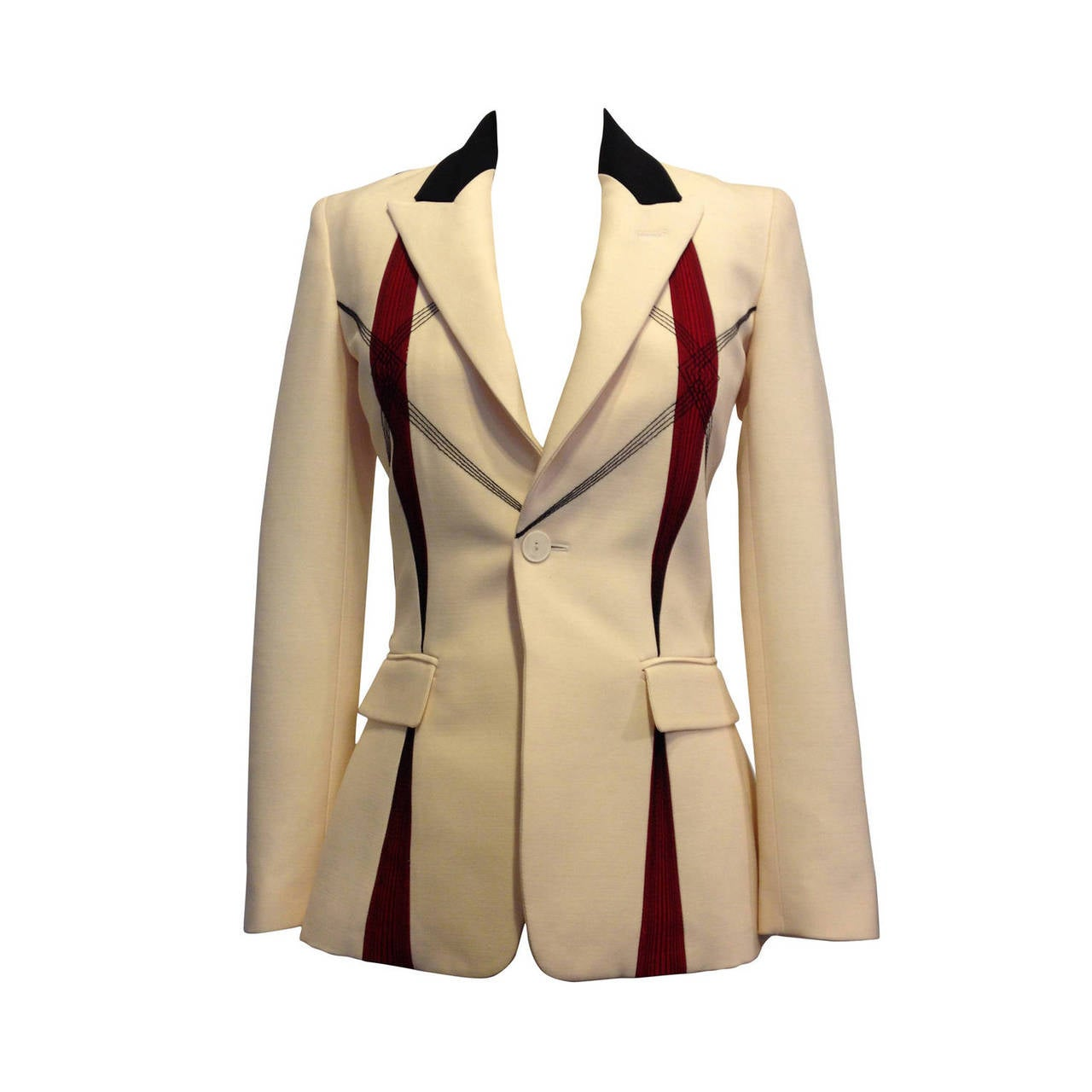 Jean Paul Gaultier Cream Embroidered Blazer For Sale