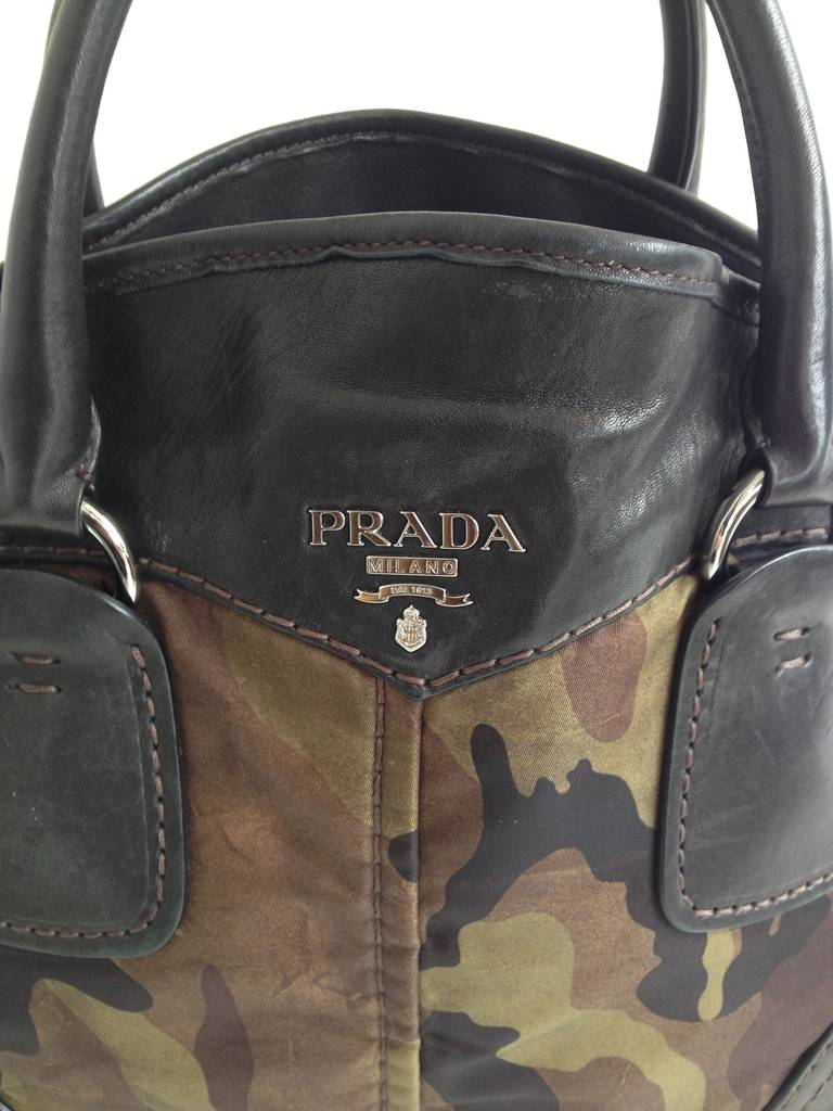 Prada Olive Camouflage Bowling Bag At 1stdibs