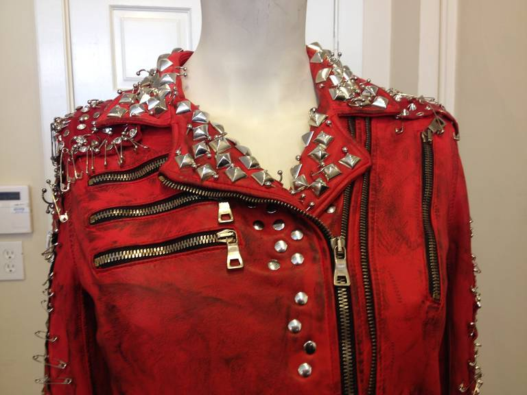 Balmain Red Leather Studded Motorcycle Jacket 2