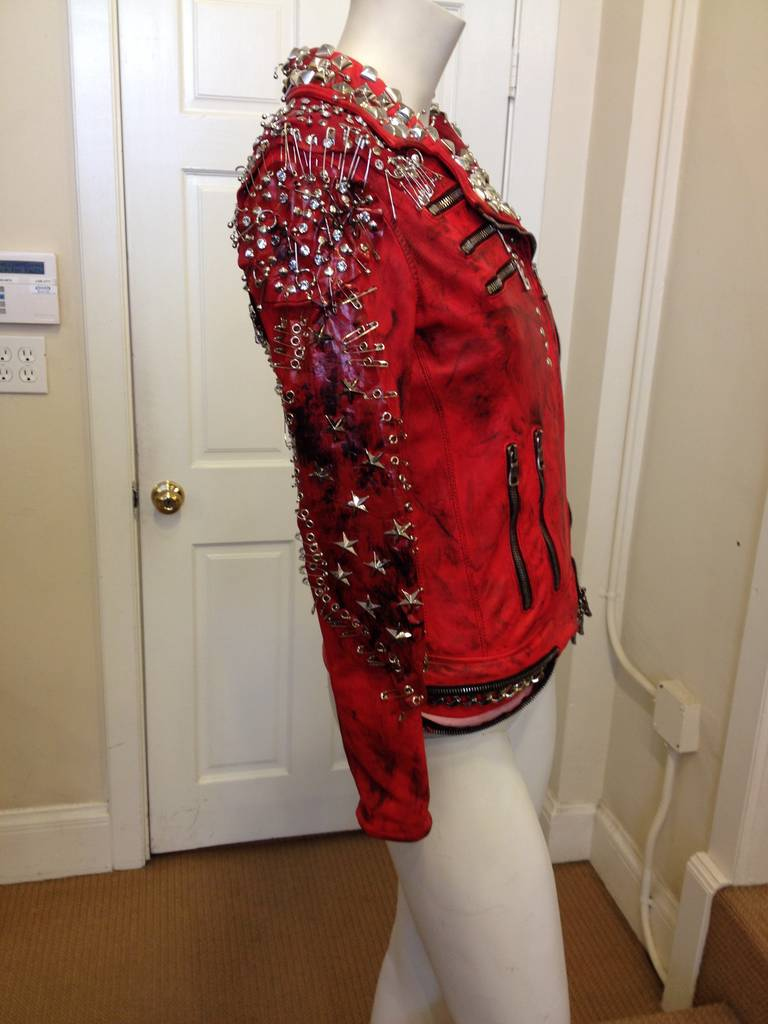 Balmain Red Leather Studded Motorcycle Jacket 3
