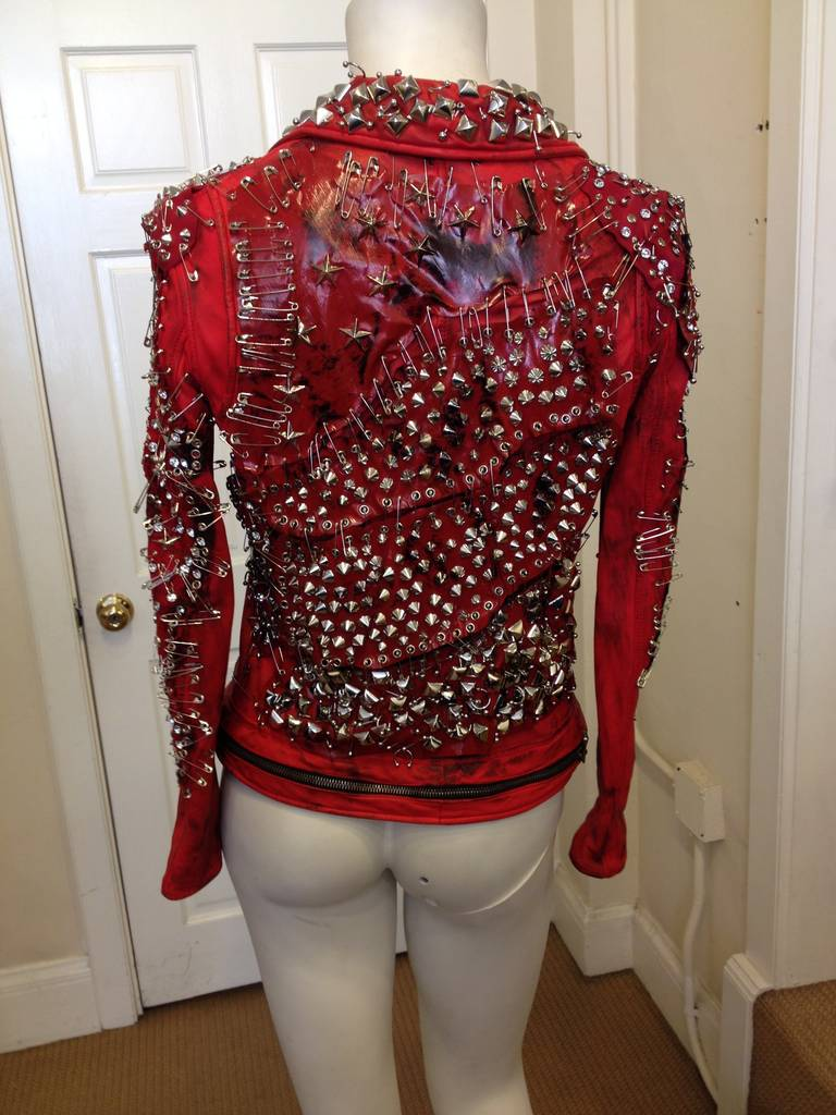 Balmain Red Leather Studded Motorcycle Jacket 5