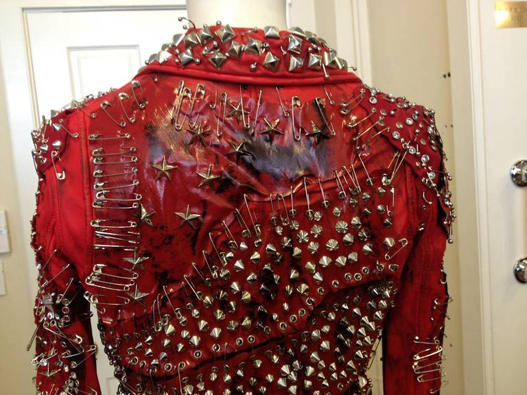 Balmain Red Leather Studded Motorcycle Jacket 6