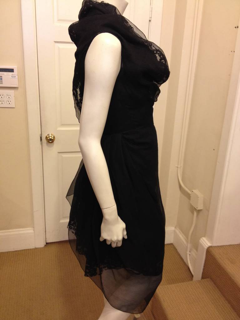 Marc Jacobs Black Lace and Chiffon Layered Dress 4