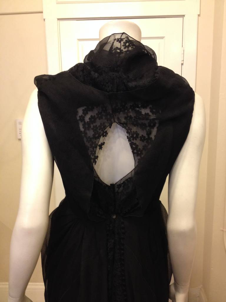Marc Jacobs Black Lace and Chiffon Layered Dress For Sale 2