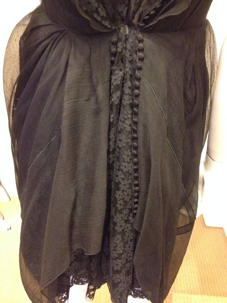 Marc Jacobs Black Lace and Chiffon Layered Dress For Sale 4