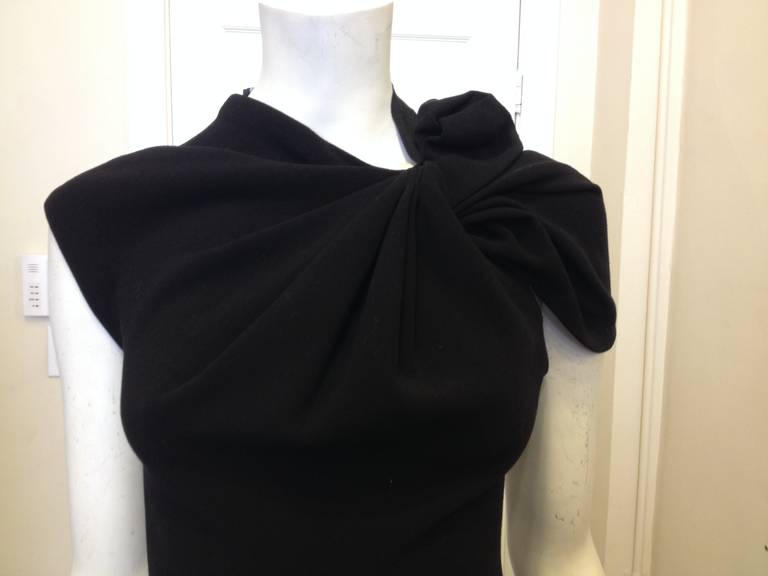 Lanvin Black Cocktail Dress with Bow In Excellent Condition For Sale In San Francisco, CA