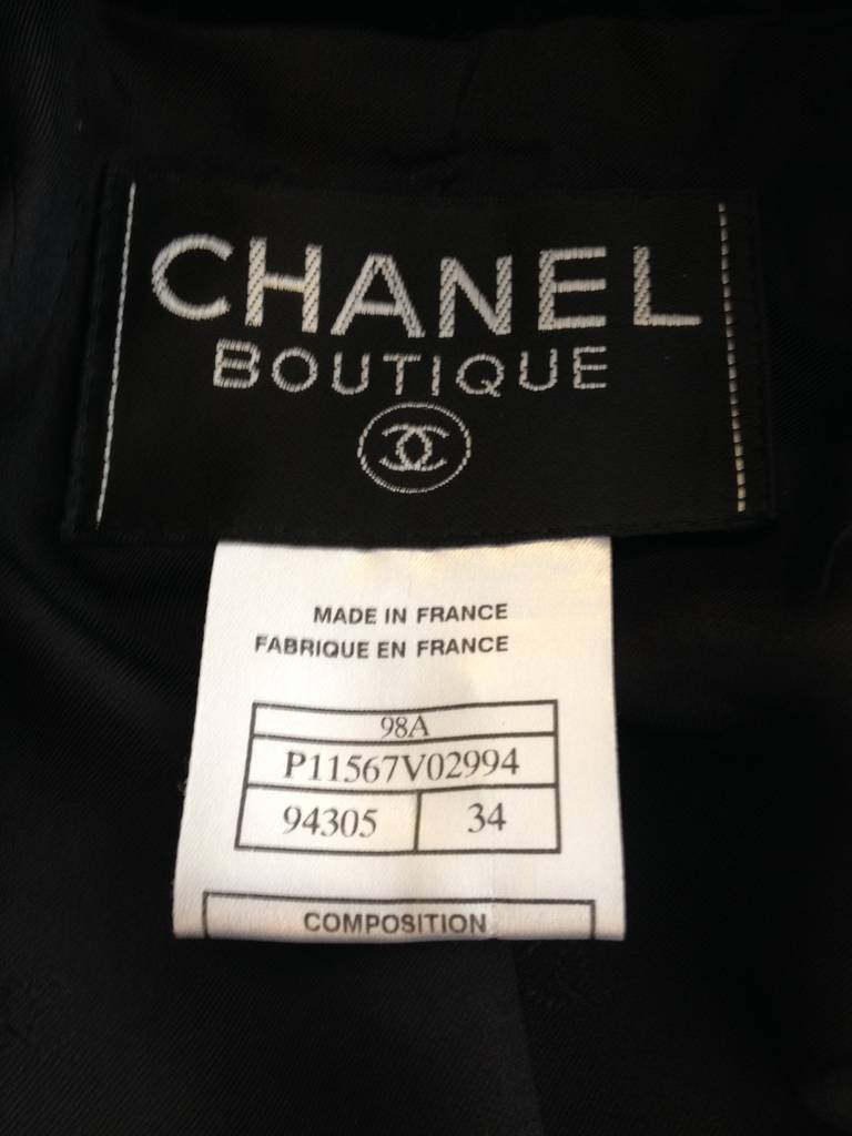 Chanel Black Velvet Cropped Peacoat For Sale 2