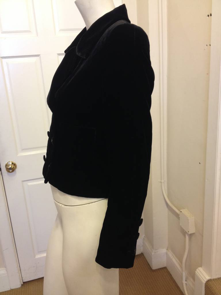Chanel Black Velvet Cropped Peacoat In Excellent Condition For Sale In San Francisco, CA