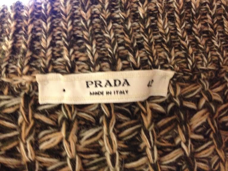 Prada Brown and Tan Knit Cardigan 5