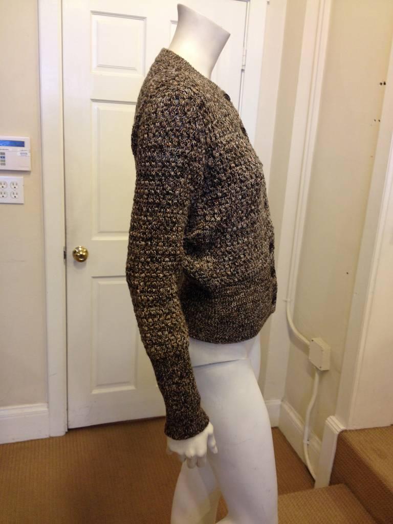 Prada Brown and Tan Knit Cardigan 3