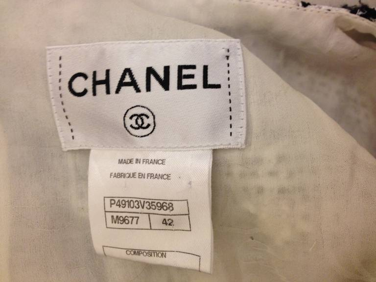 Chanel Black and White Tweed Dress with Camellia 8