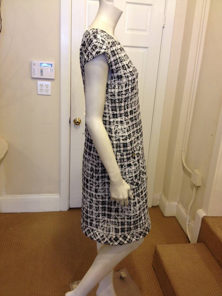 Chanel Black and White Tweed Dress with Camellia 5