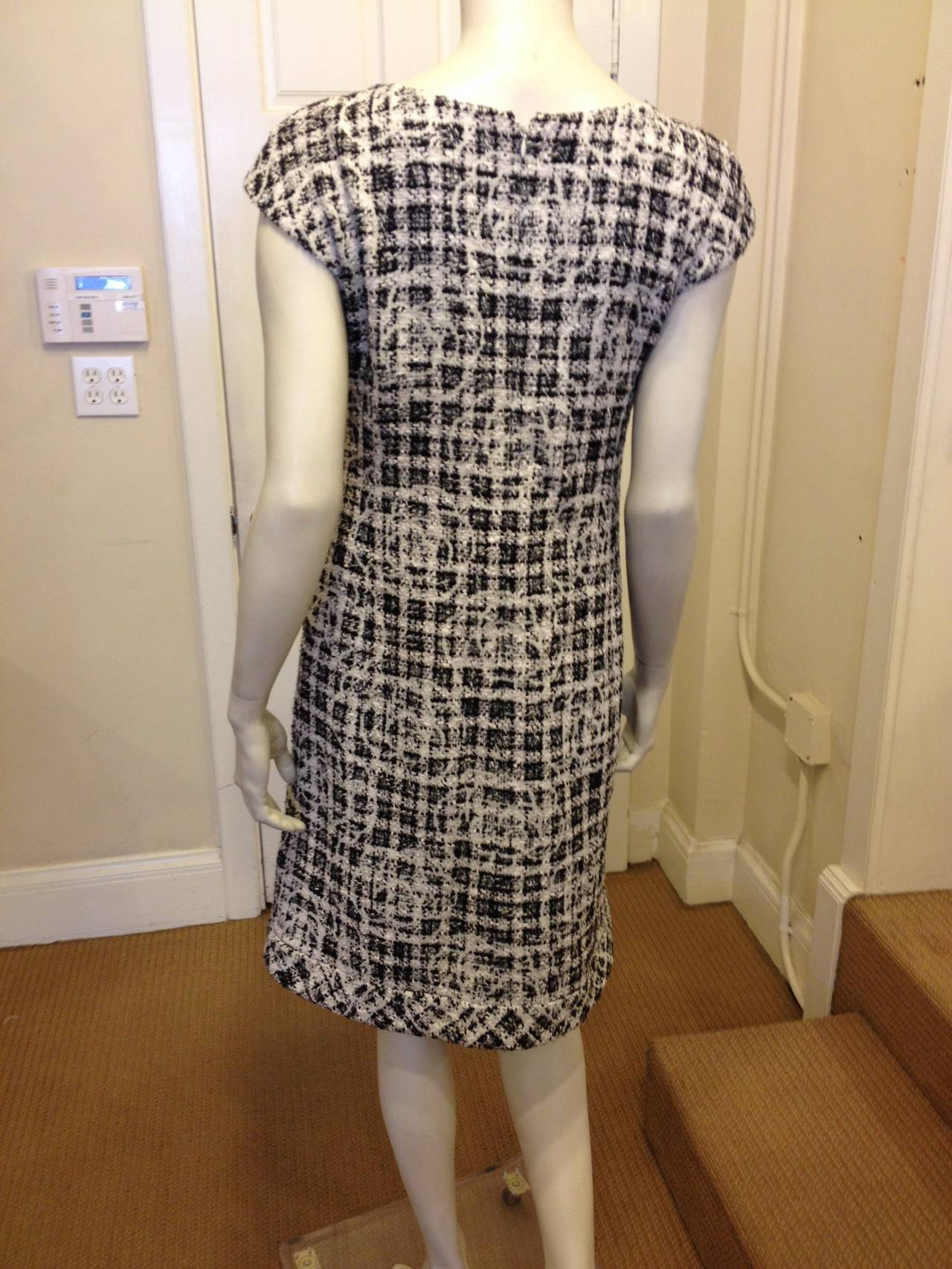 Chanel Black and White Tweed Dress with Camellia 6