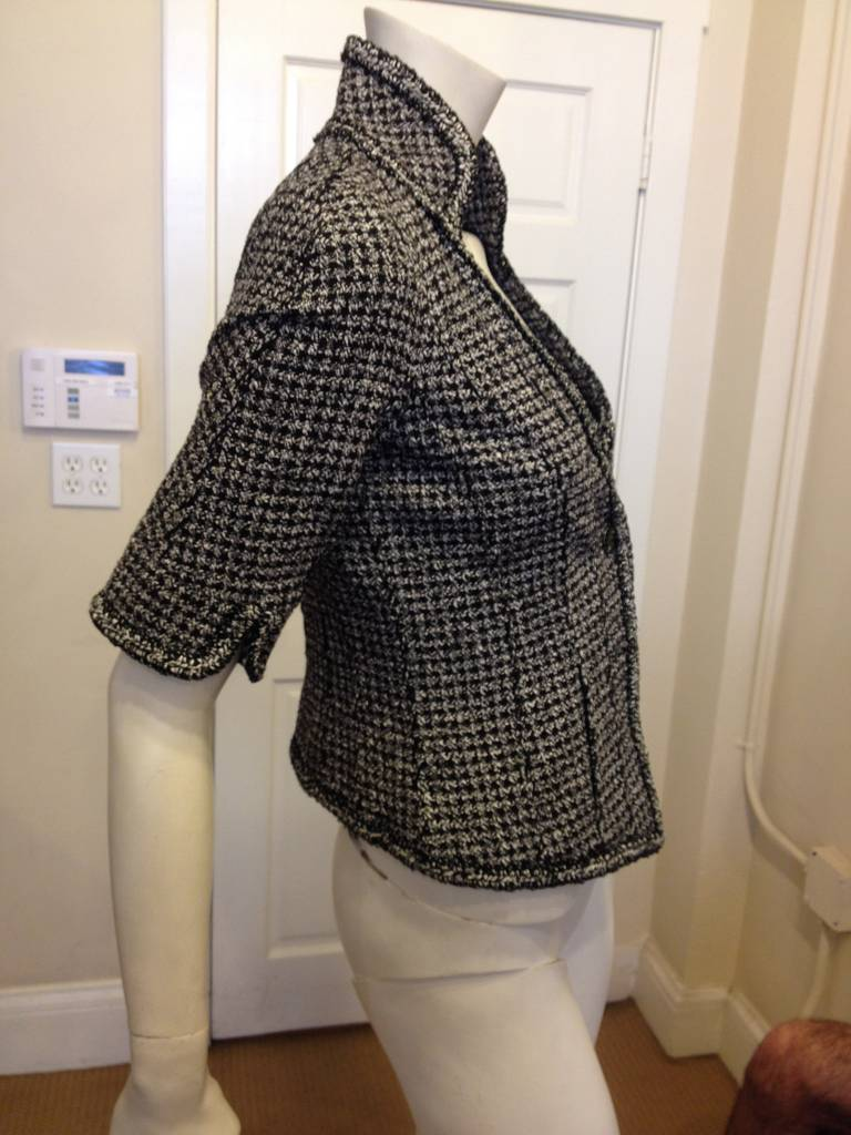 Chanel Black and White Tweed Fitted Jacket 3
