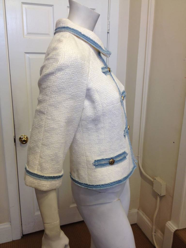 Gray Chanel White Tweed Jacket with Blue Denim Trim For Sale