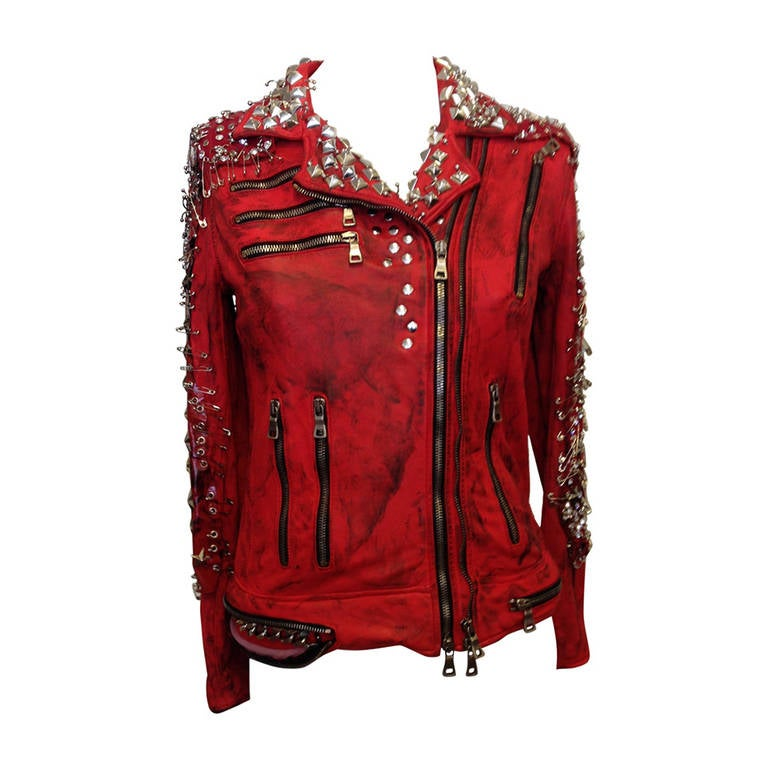 Balmain Red Leather Studded Motorcycle Jacket 1