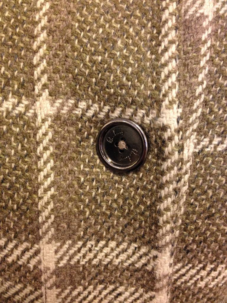 Black Burberry Olive and Cream Plaid Coat For Sale