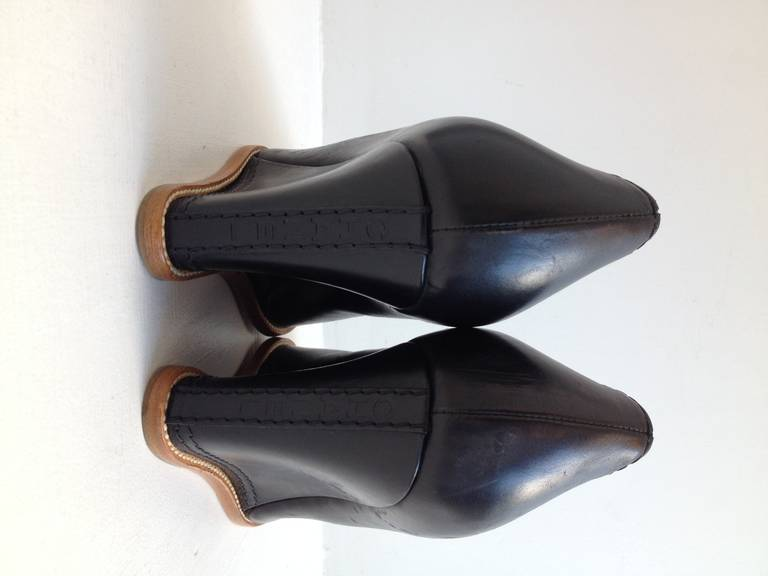 Chanel Black Leather Wedge In New Never_worn Condition For Sale In San Francisco, CA