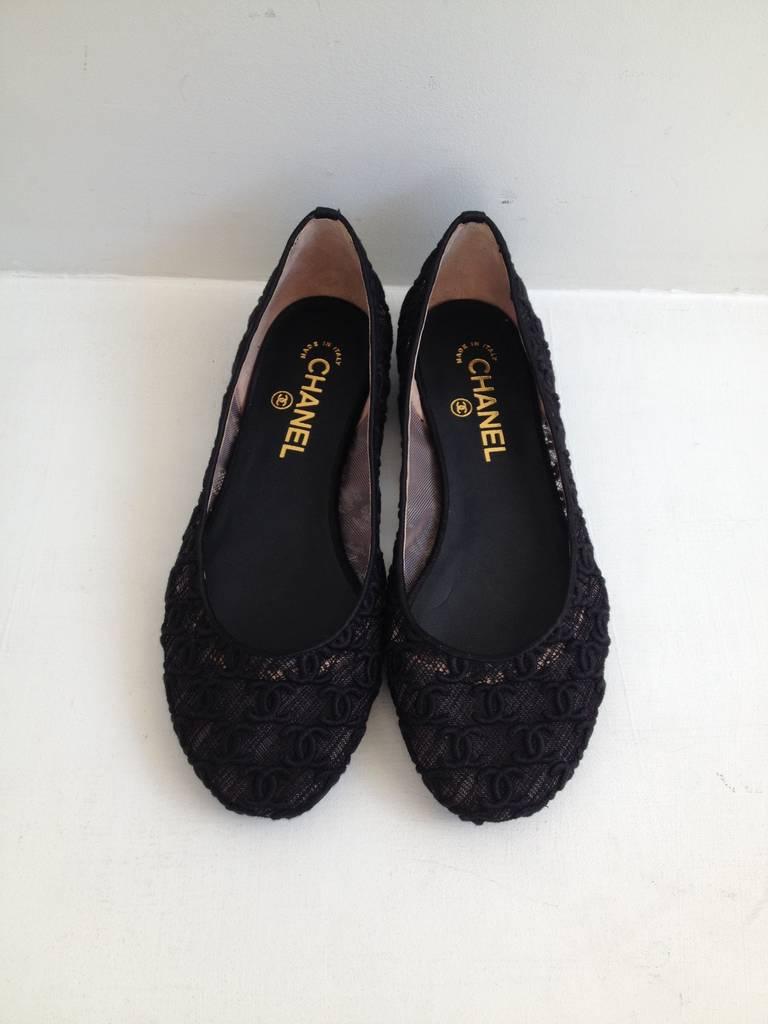 chanel black sheer embroidered ballet flats at 1stdibs